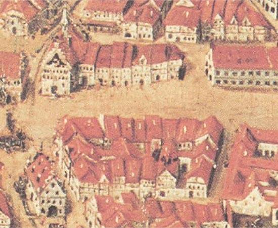 Ravensburger Stadtprospekt von 1625, Ausschnitt Rinderviehmarkt