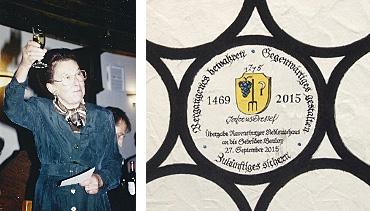 Seniorchefin Veronika Bouley-Dressel, 1991 bei der Eröffnung der Zunftstube