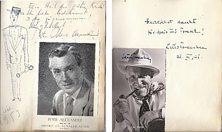 """""""Waldhorn""""-Gästebuch mit Einträgen von P. Alexander,1963 und L. Trenker, 1961"""